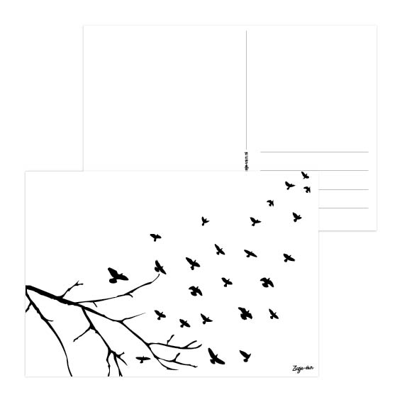 Tak met vogels A6 kaart zwart/wit Zusje-van Webshop