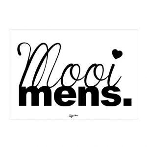 Mooi Mens. A6 kaart zwart wit Zusje-van Webshop