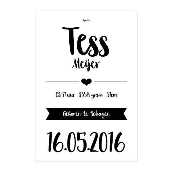 Geboorteposter Tess Zusje-van Webshop