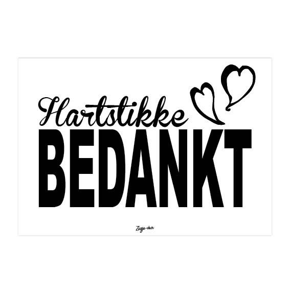 Hartstikke bedankt A6 kaart zwart/wit Zusje-van Webshop