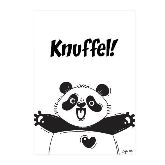 Knuffel panda A6 kaart zwart/wit Zusje-van Webshop