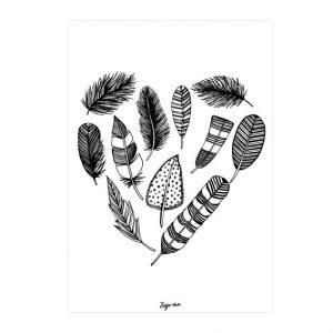 Veren hart A6 kaart zwart/wit Zusje-van Webshop