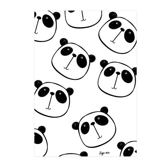 Panda hoofden A6 kaart zwart/wit Zusje-van Webshop