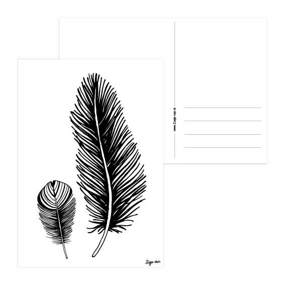 2 veren A6 kaart zwart/wit Zusje-van Webshop