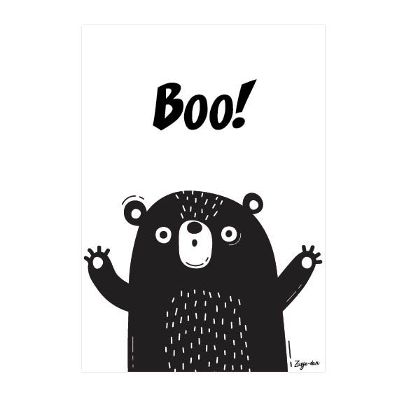 Boo! A6 kaart zwart/wit Zusje-van Webshop
