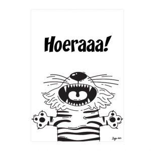 Hoeraaa! A6 kaart zwart/wit Zusje-van Webshop