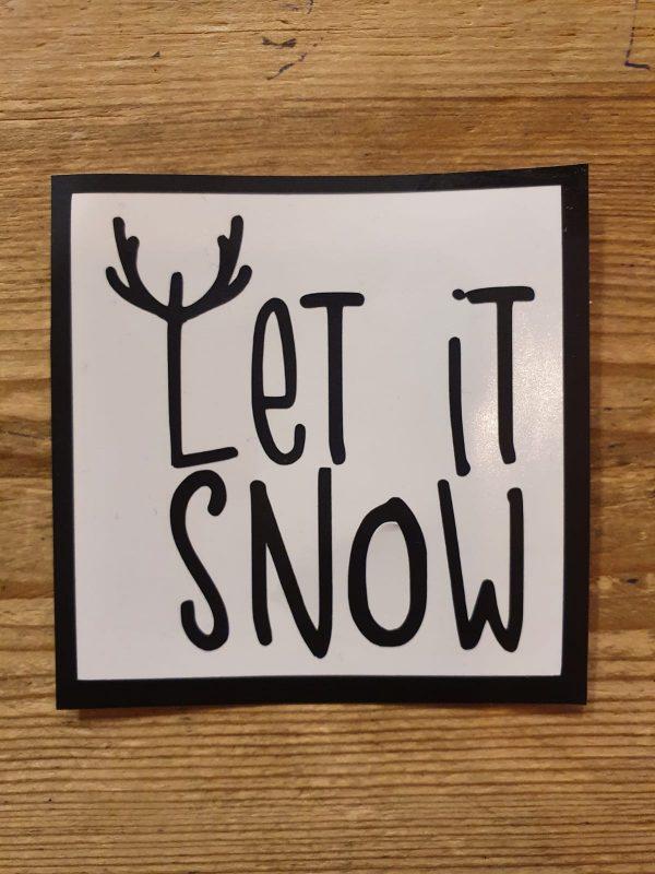 Let it snow kerstbalsticker